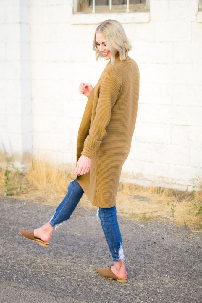 Long Textured Cardigan in Camel