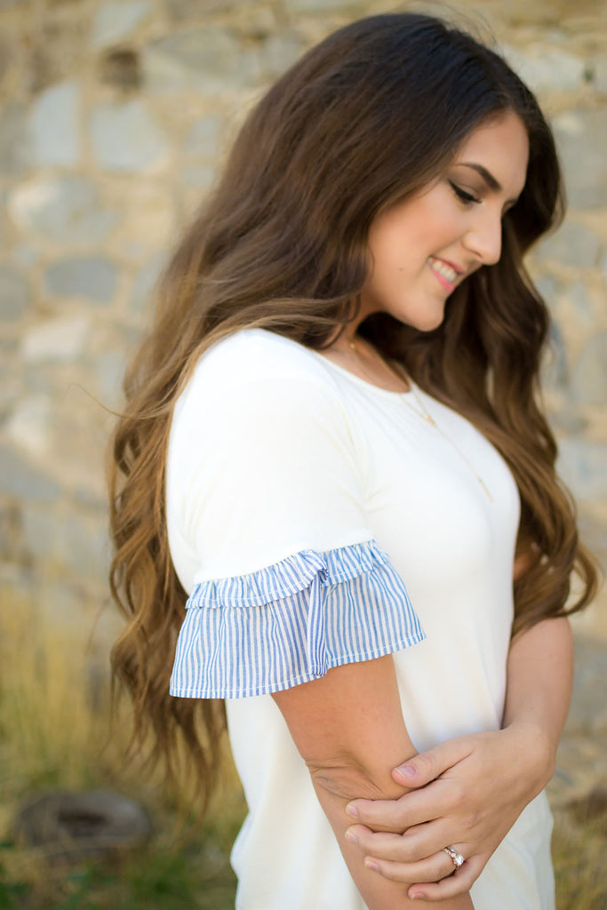Pin Stripe Ruffle Tee