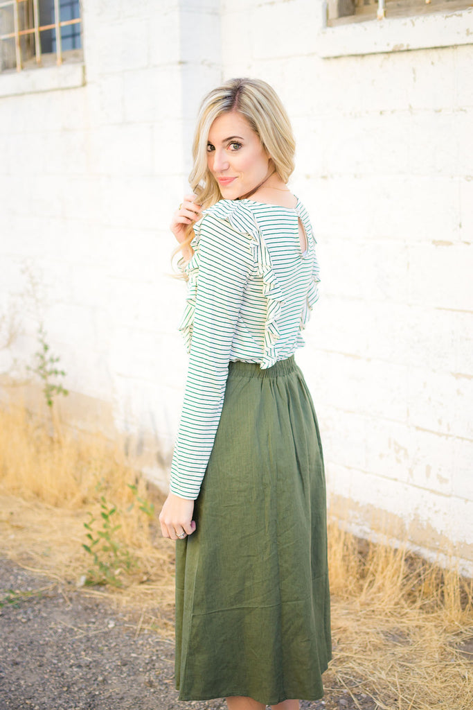Linen Button Down Skirt in Olive