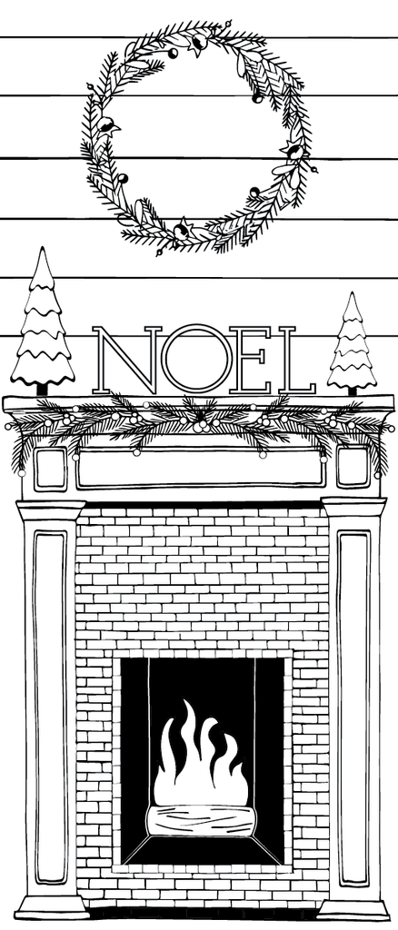 Noel Fireplace Printable