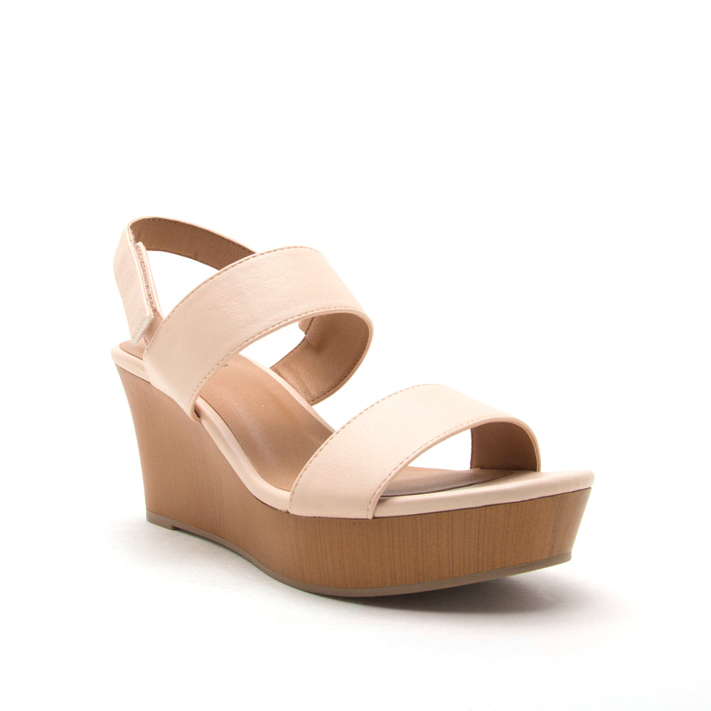 Sandal Wedges in Nude - SIZE 6.5