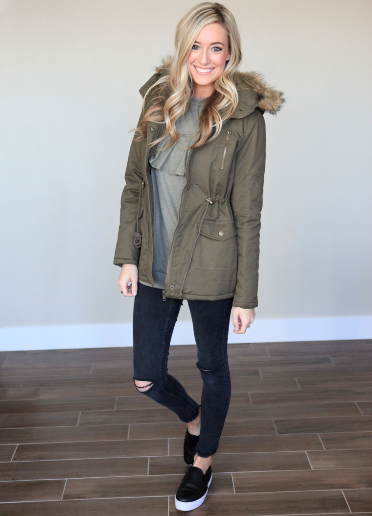 Winter Coat in Olive