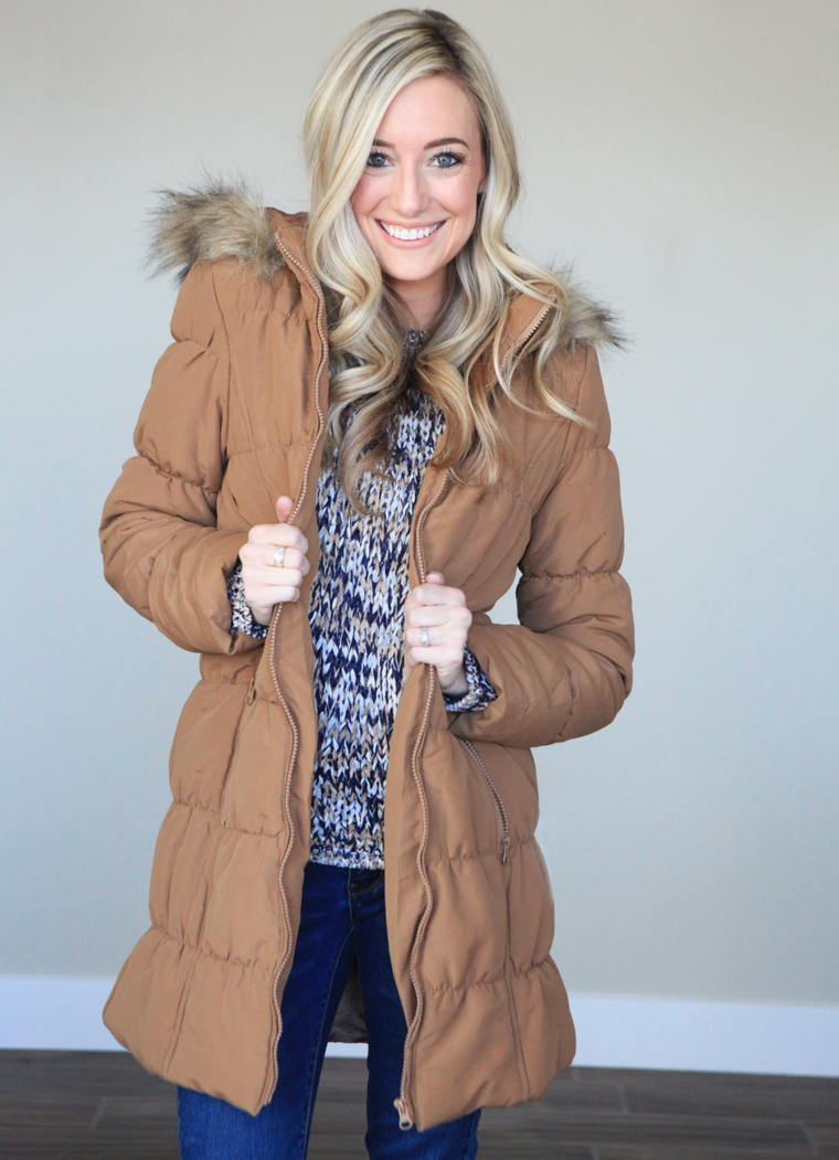Long Puffy Coat in Camel