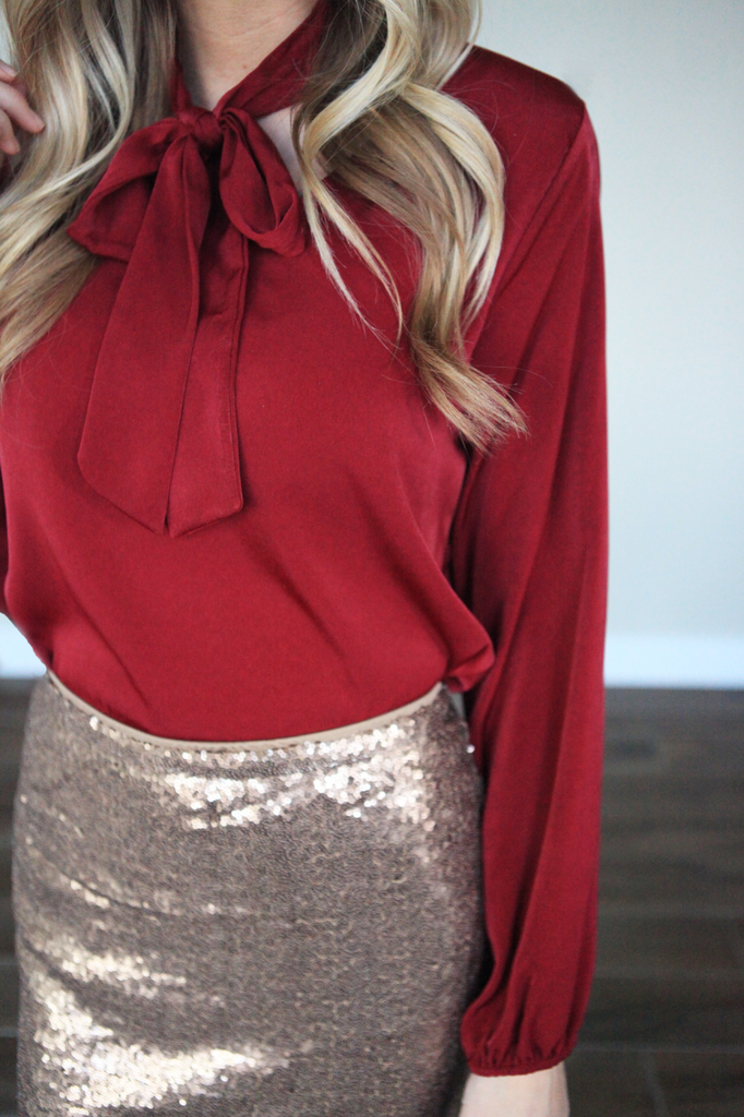 Red Tie Blouse