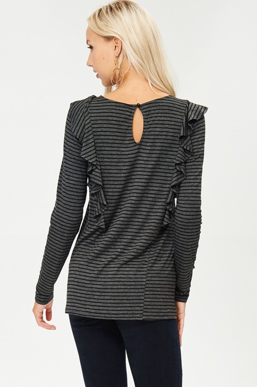 Striped Ruffle Top in Charcoal