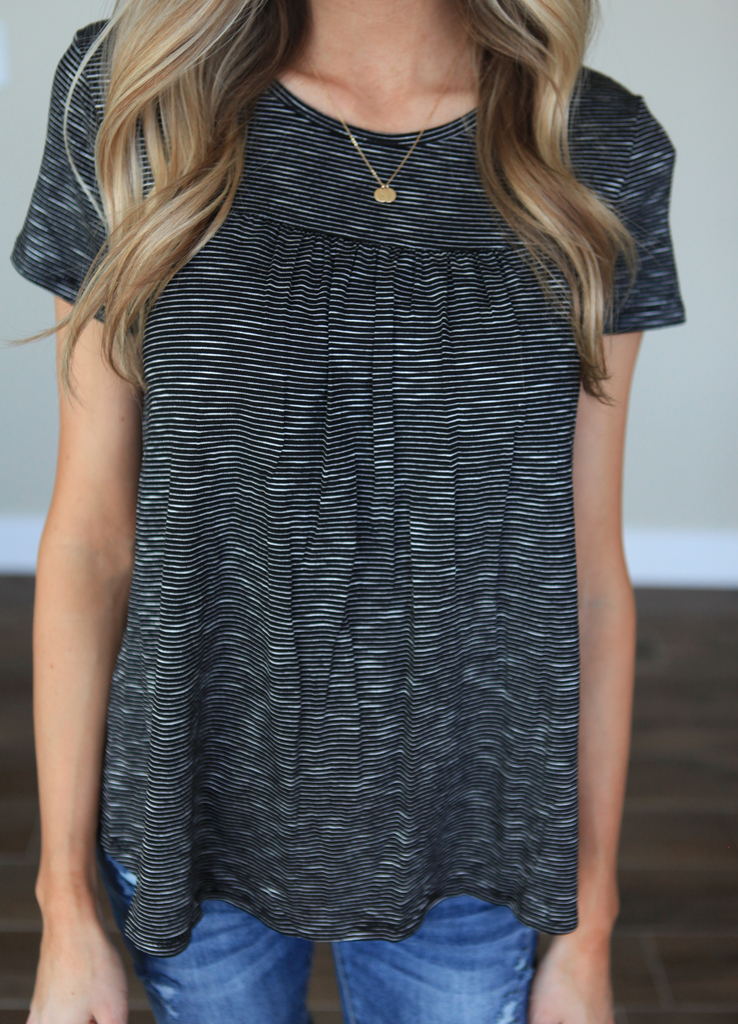 Tiny Stripes Tee in Black