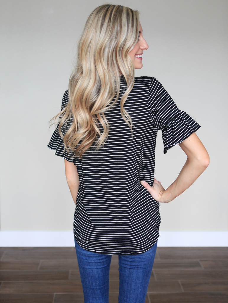 Striped Bell Sleeve Top in Black