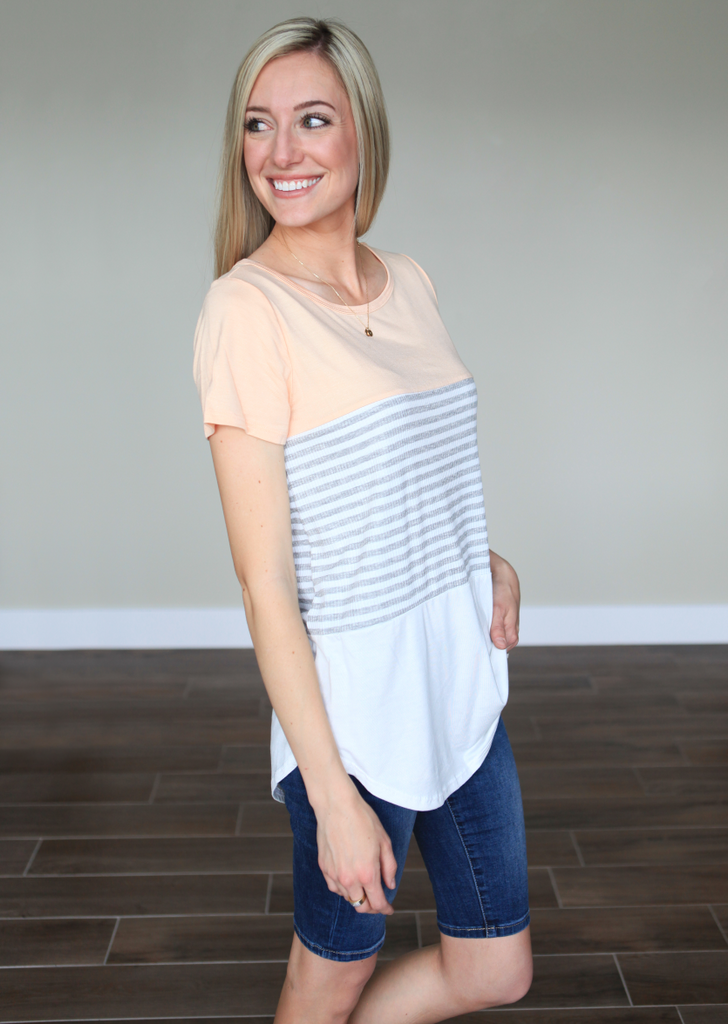 Peach Colorblock Tee