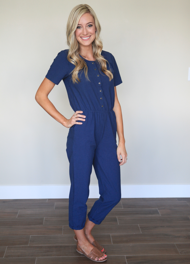 Linen Jumpsuit in Navy