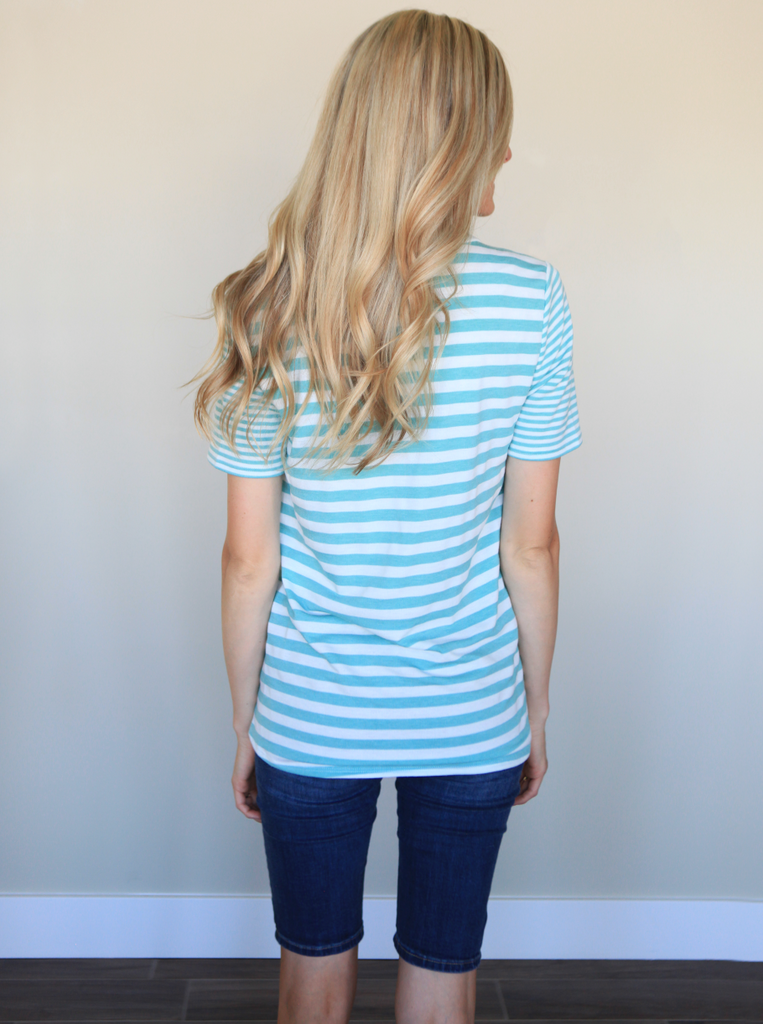 Striped Pocket Tee in Teal