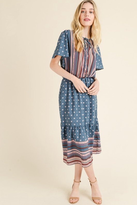 Tribal Mixed Print Dress