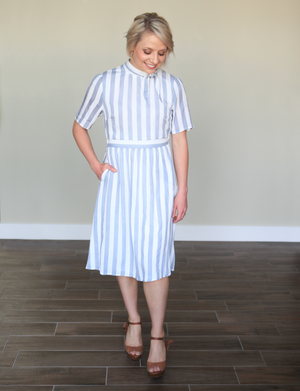 Neck Tie Stripe Dress