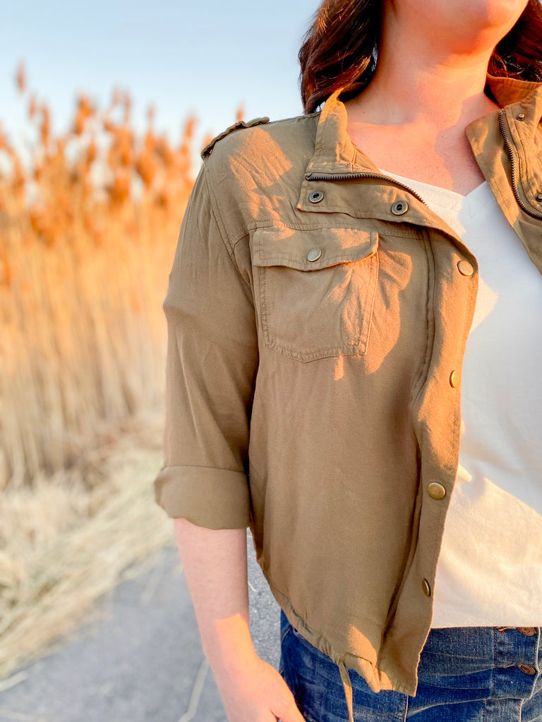 Drawstring Cargo Jacket - Plus