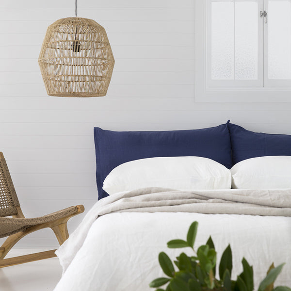 Linen Blend Pillowslip in Navy