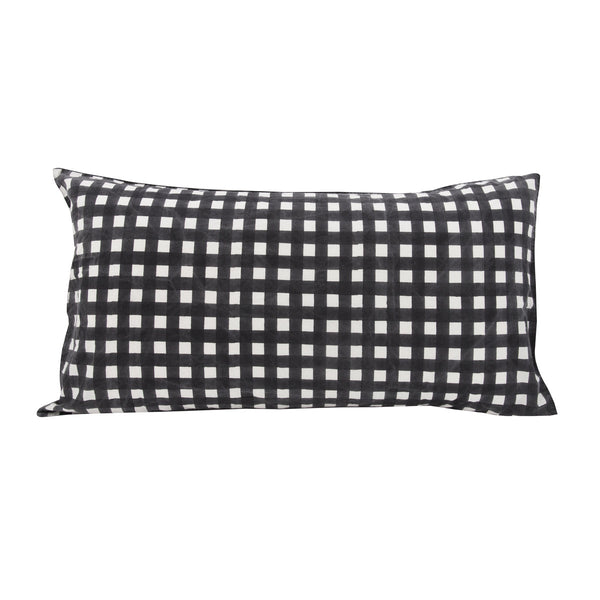 Gingham Pillowslip in Charcoal
