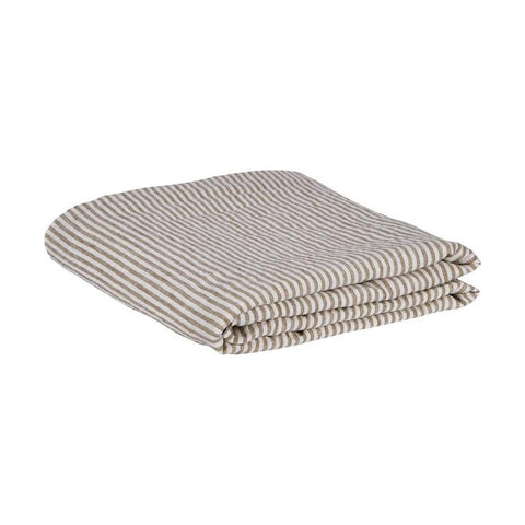 Sage & Clare Linen Fitted Sheet - Moss Stripe King Size