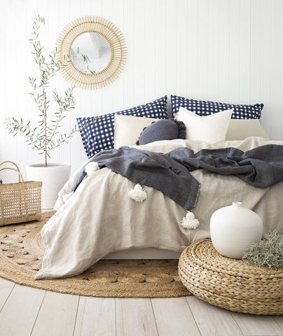 Gingham Pillowslip in Navy Blue