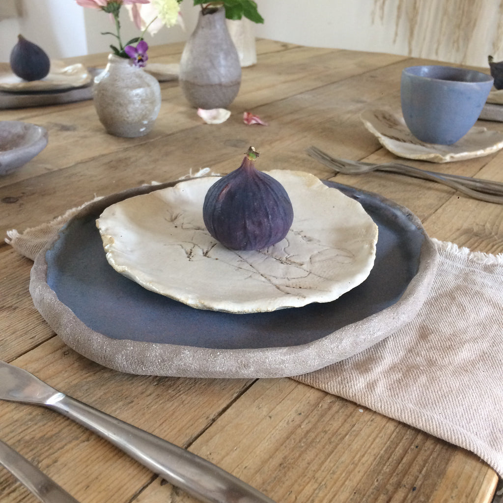 Large plate fig glaze on grey textured clay