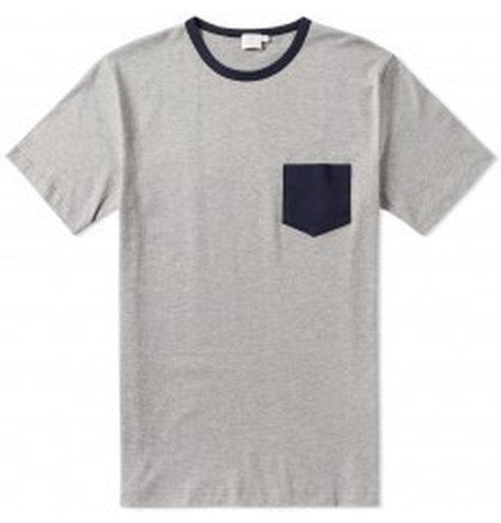 Grey Pocket melange Tee with Contrast Binding