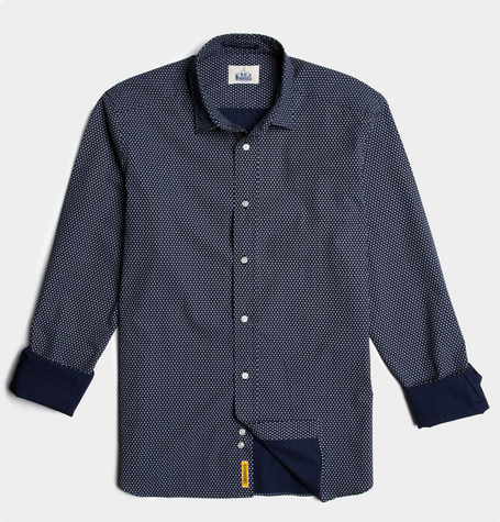 Slim mid blue pattern soft cotton classic collar