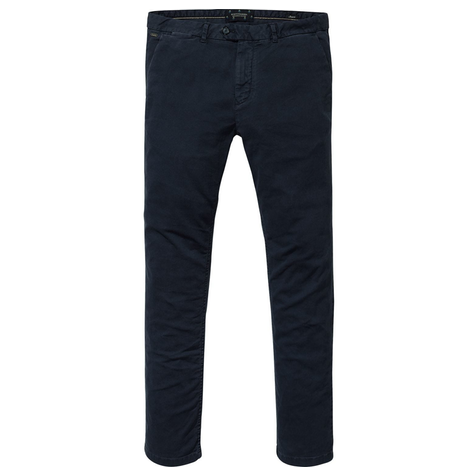 Stuart - Garment dyed chino in dobby quality navy