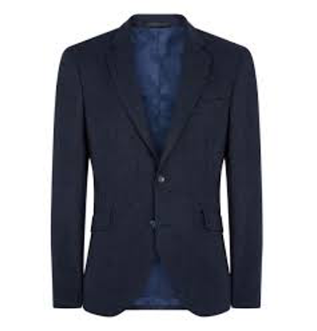 Navy Linen Regular Fit Blazer