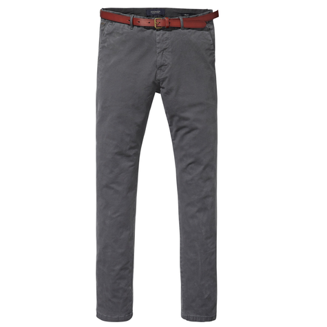A Classic garment dyed chino in stretch cotton grey