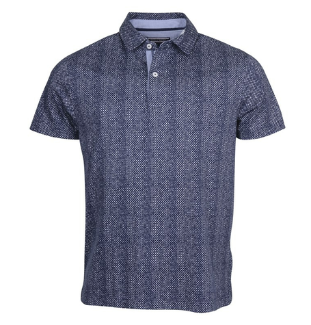 Chambray Navy Print Polo