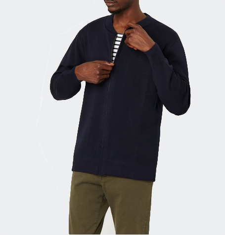 Bala Navy Zip Cardigan