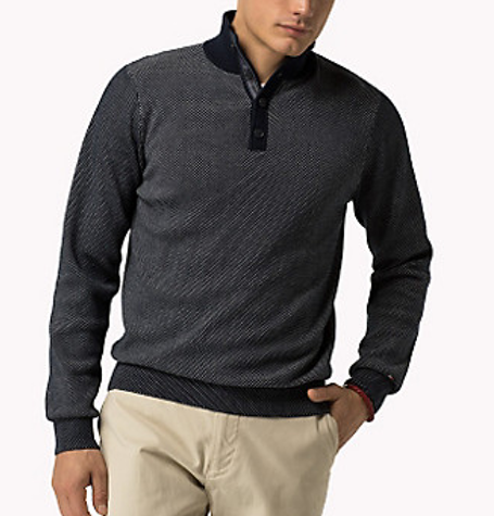 Blue Tyler Button-Neck Jumper