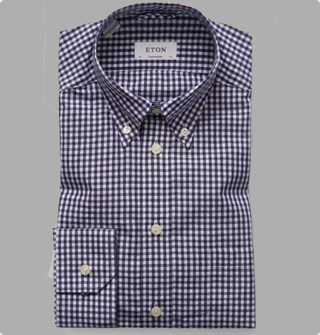 Navy Gingham Button Down Shirt