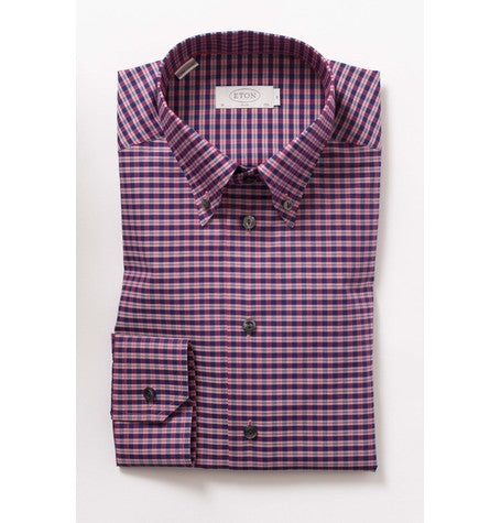 Red Check Button Down Collar Shirt