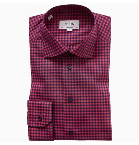 Red Check Cutaway Collar Shirt