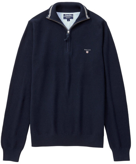 Persian Blue Cotton Pique Half Zip