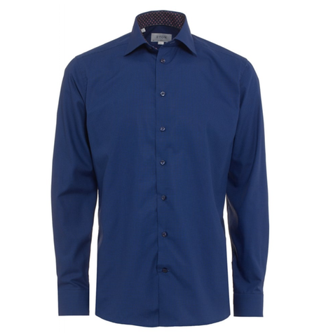 Blue Micro Square Cutaway Collar Shirt