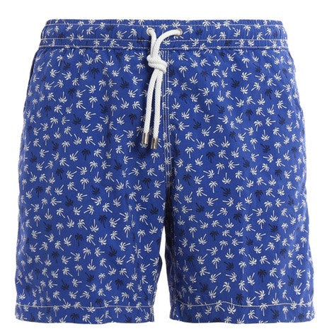 Blue & White Palm Tree Swim Shorts
