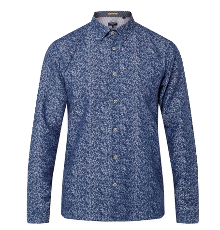 Navy Freeluv Small Floral Linen Shirt