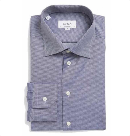 Textured Light Navy Cutaway Collar Shirt