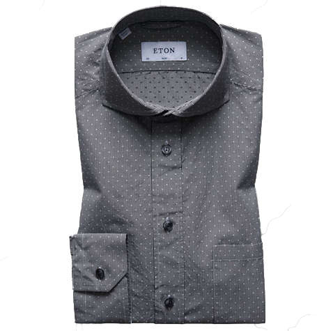 Grey&White polka dot soft cutaway collar shirt