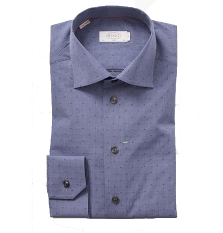 Blue Dotted Cutaway Collar Shirt