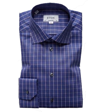 Navy Bold Check Twill Shirt