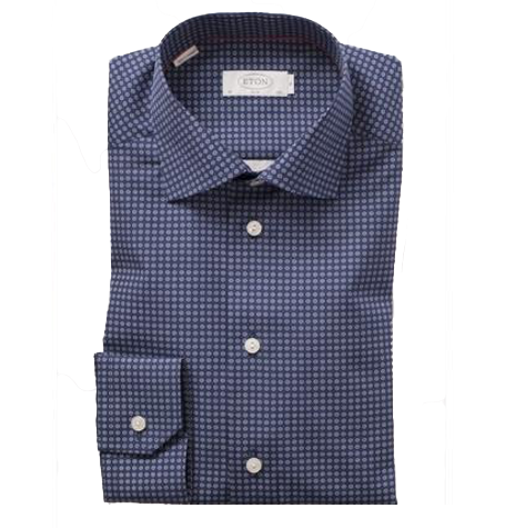 Navy Circular Pattern Cutaway Collar Shirt