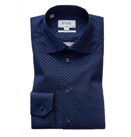Navy printed Cutaway Collar Shirt