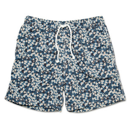 Multi Blue White Stain Liberty Print Swim Shorts