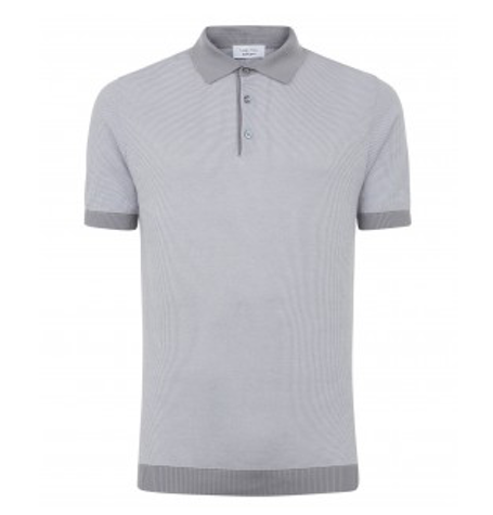 Grey Short sleeve textured polo