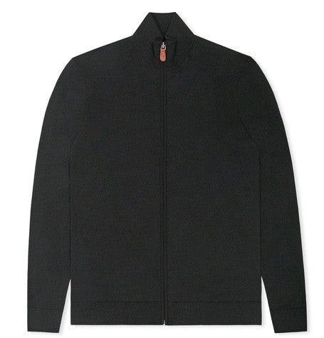 Black Zip up funnel neck knit