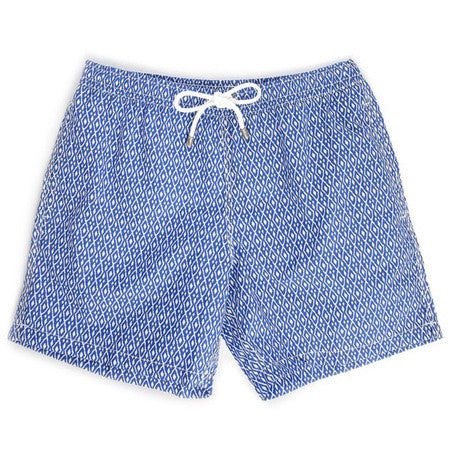 Blue & White Lozenge Tile Swim Shorts