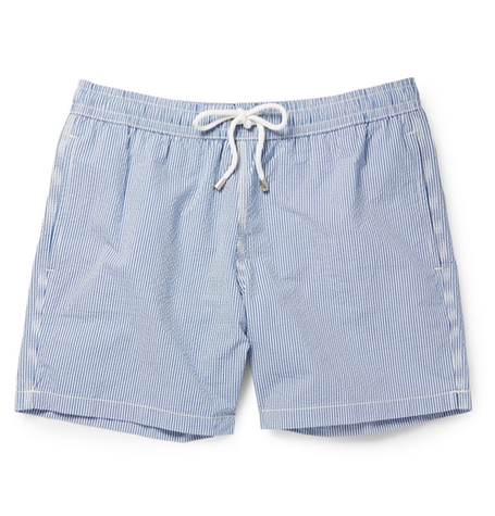 Light Blue & White Fine Stripe Swim Shorts