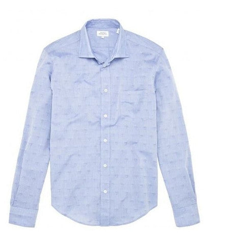 Blue Jacquard Palm Shirt
