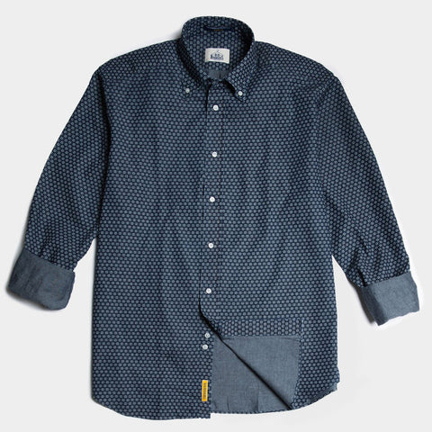 Slim navy pattern linen button down